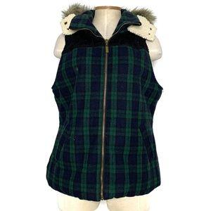 MOSSIMO blue & green plaid winter vest